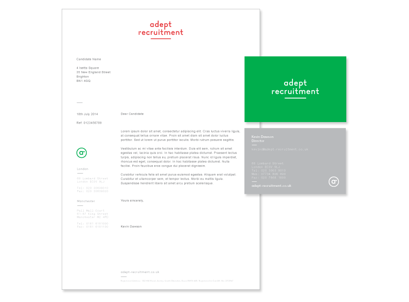 Adept Recruitment stationery
